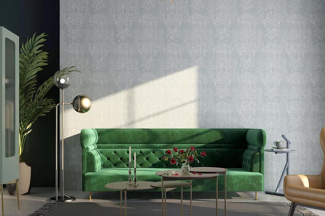 欧式卷叶花纹墙布