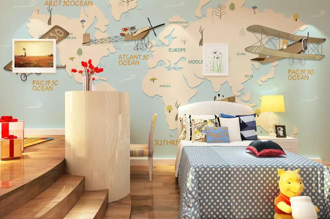 飞机飞跃世界地图儿童环保墙布