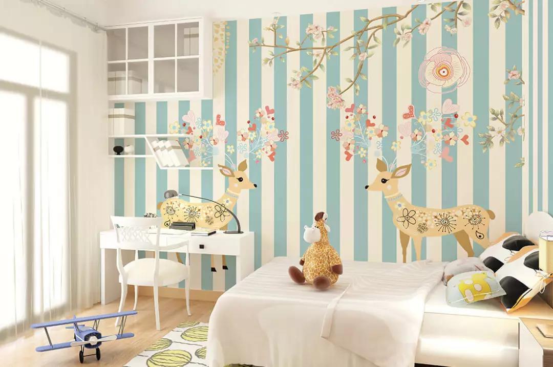 蓝白条纹梅花鹿儿童环保墙布