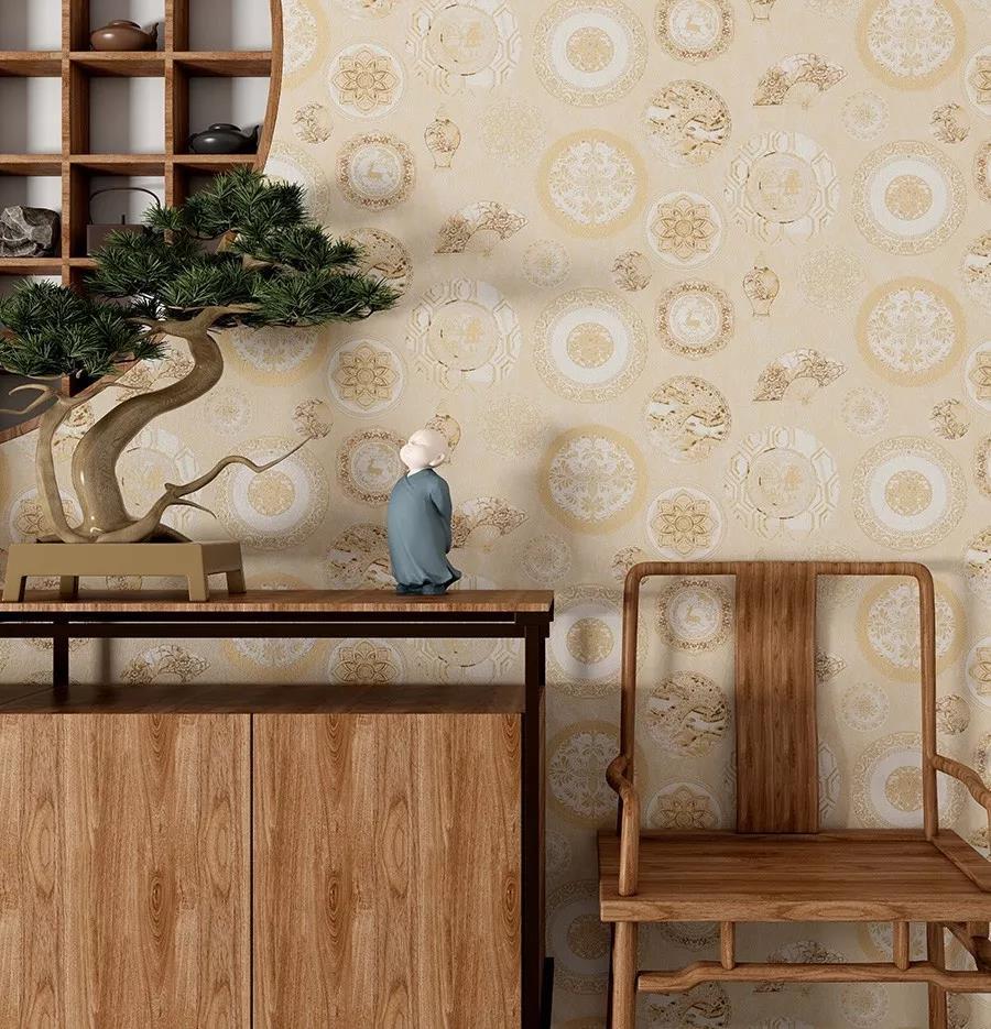 团花吉祥寓意新中式环保墙布