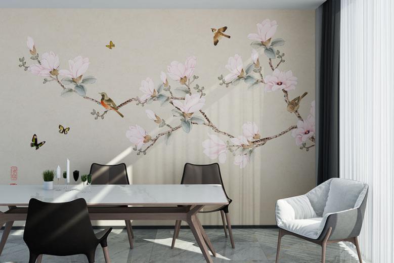 中式花鸟蝴蝶餐厅背景墙