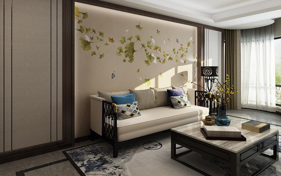 银杏叶蝴蝶飞舞沙发背景墙