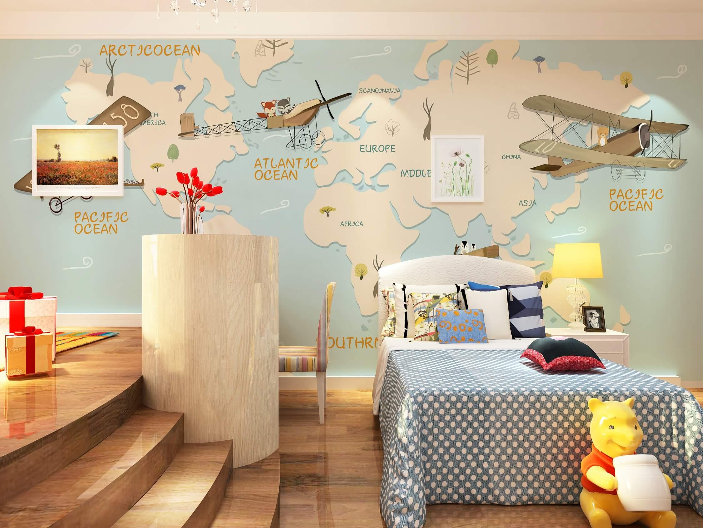 飞机环游世界地图儿童房环保墙布