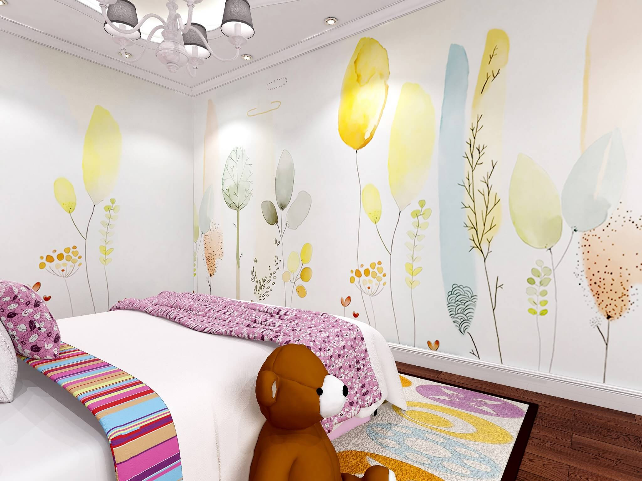 气球植物儿童房环保墙布