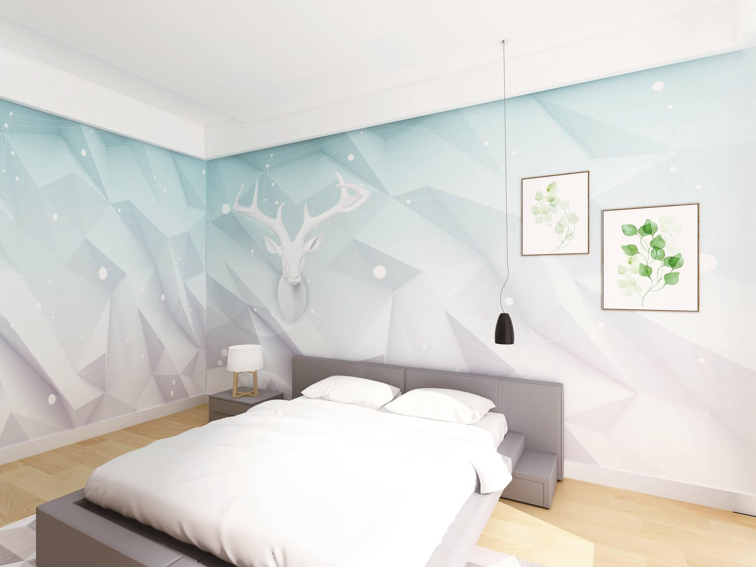 几何麋鹿儿童房环保墙布