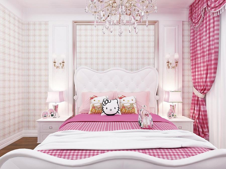 粉色格子邻居女孩房环保墙布