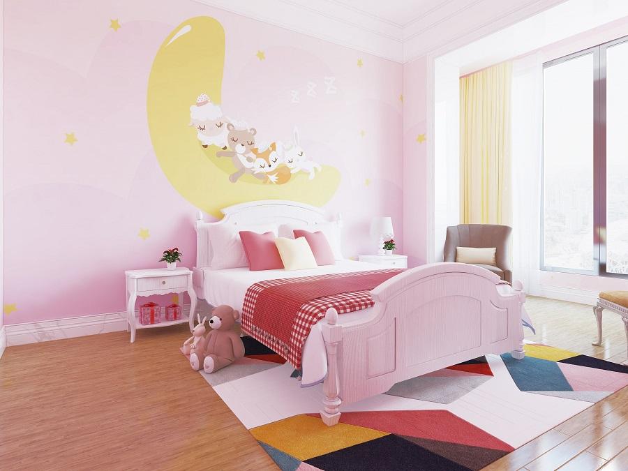 月亮晚安粉色少女房环保墙布
