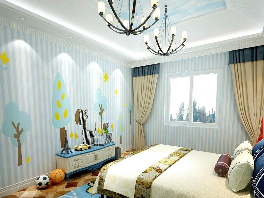 蓝白顺条斑马男孩房环保墙布