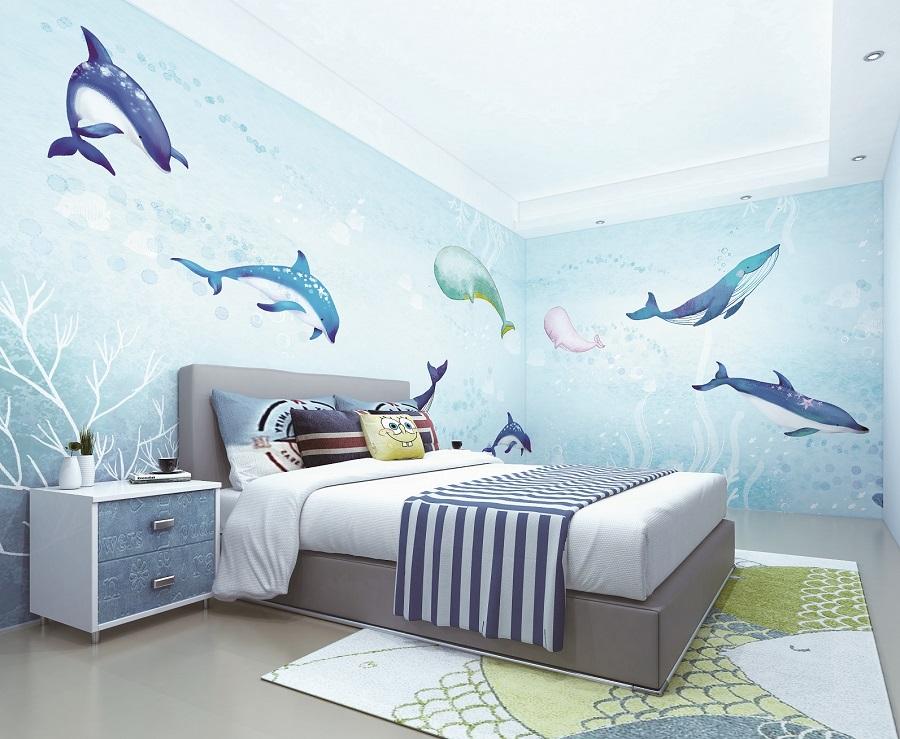 海底海豚游戏蓝色儿童房环保墙布