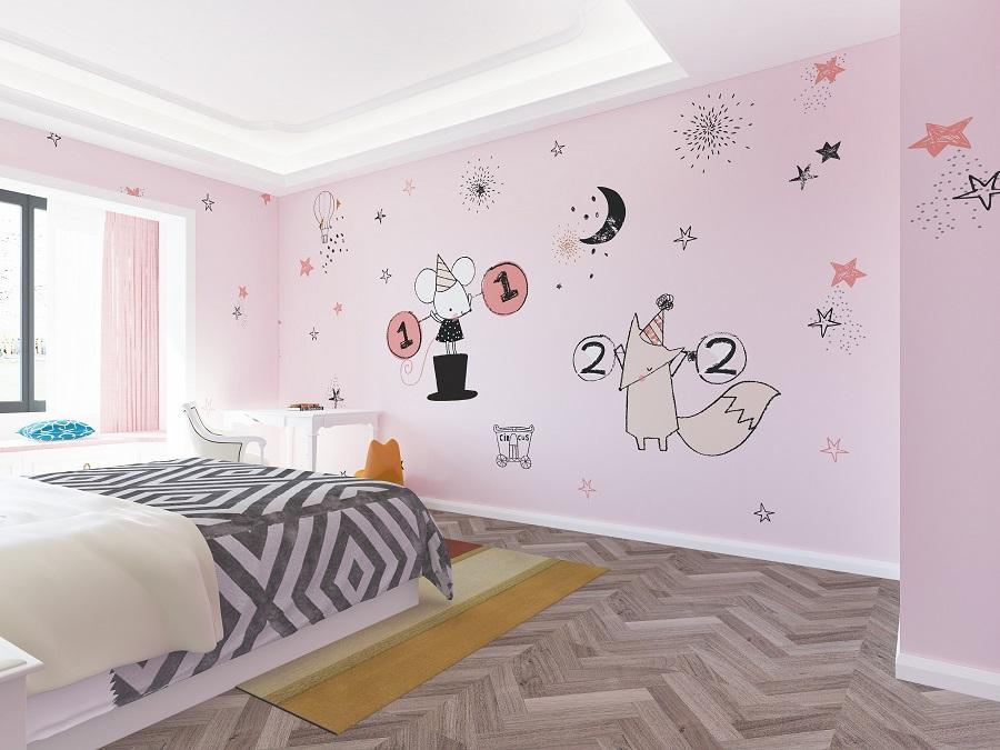 可爱老鼠比赛粉色系女孩房环保墙布