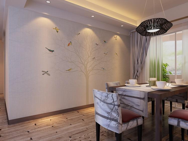 大树小鸟彩绘餐厅墙布