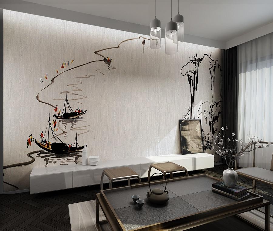 水墨简笔中式意境环保壁画