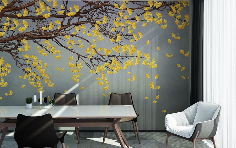 黄蓝银杏落叶背景墙