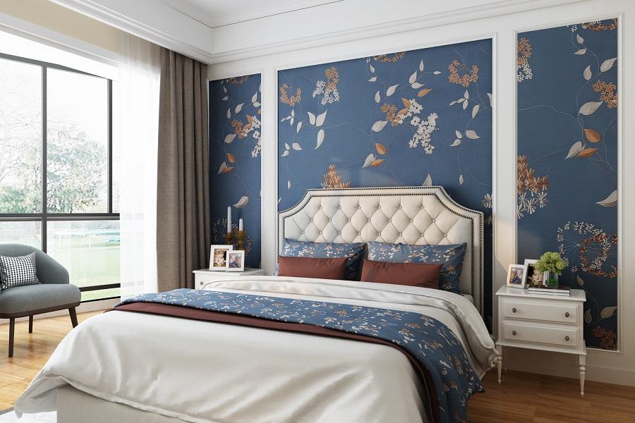 湛蓝花朵盛开娇媚新中式墙布