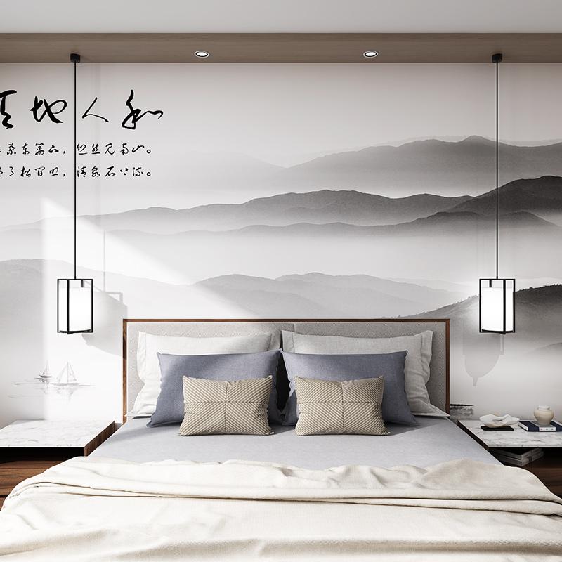 远山云雾中式床头背景