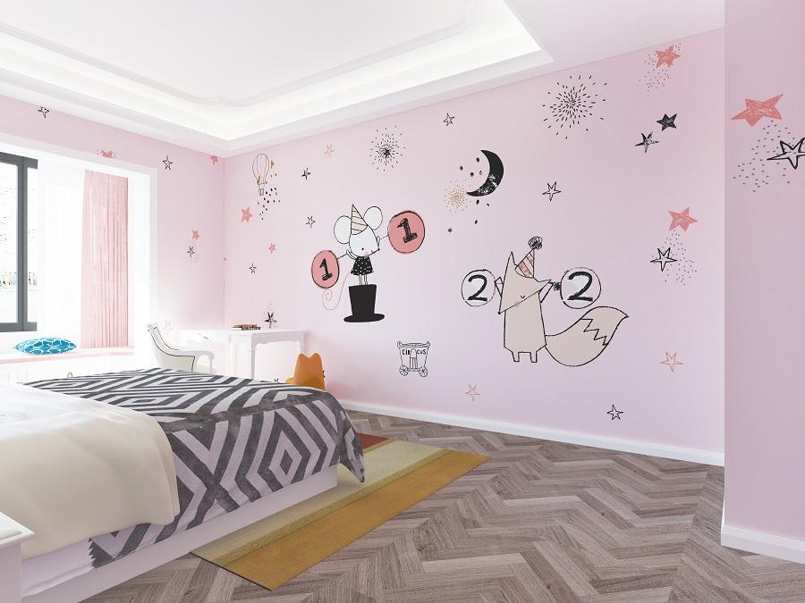 粉色少女系女孩儿童房墙布
