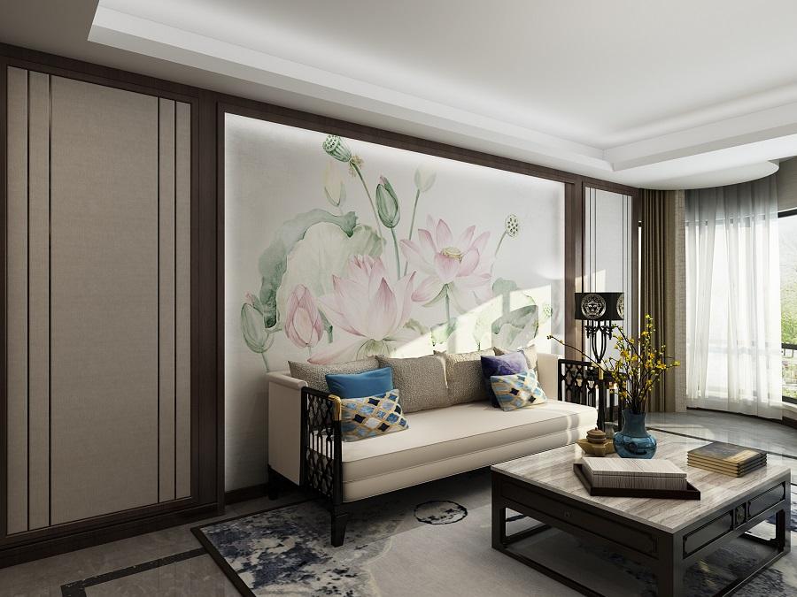 莲花高洁盛开禅意新中式壁画