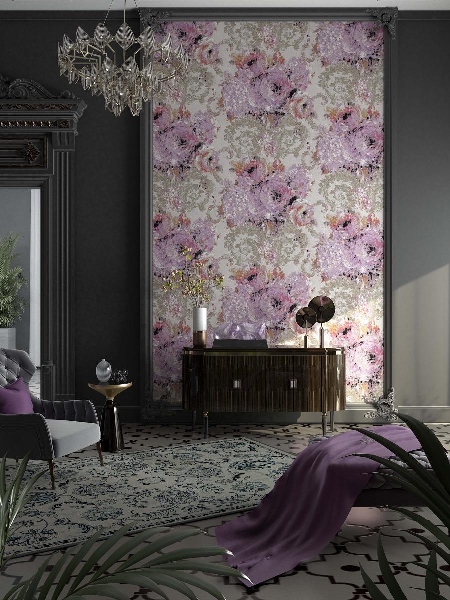 玫瑰绣球花纹欧式无缝墙布