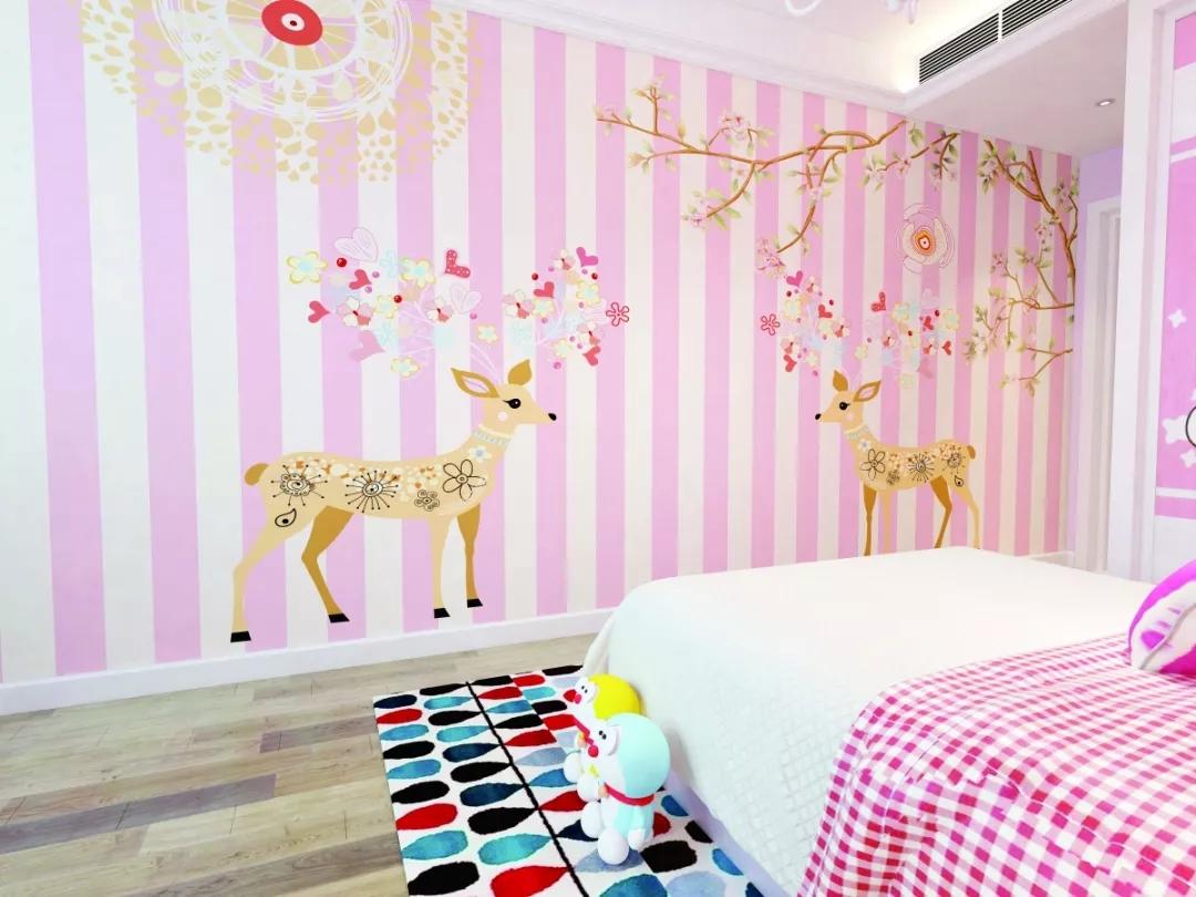 粉白条纹梅花鹿儿童房环保墙布