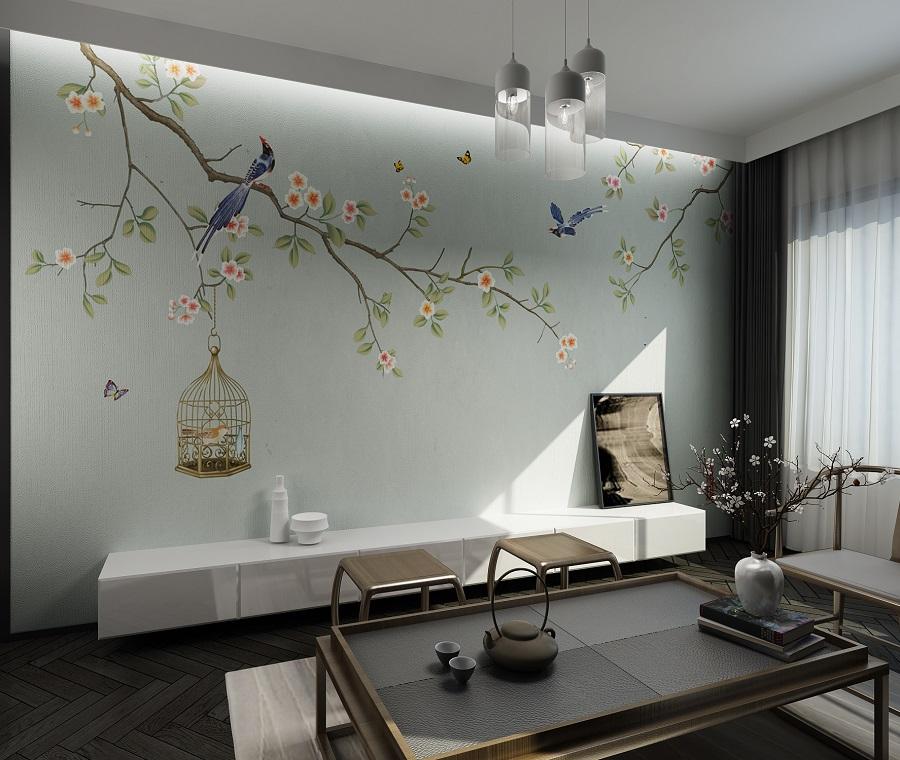 中式桃花盛开花鸟环保墙布