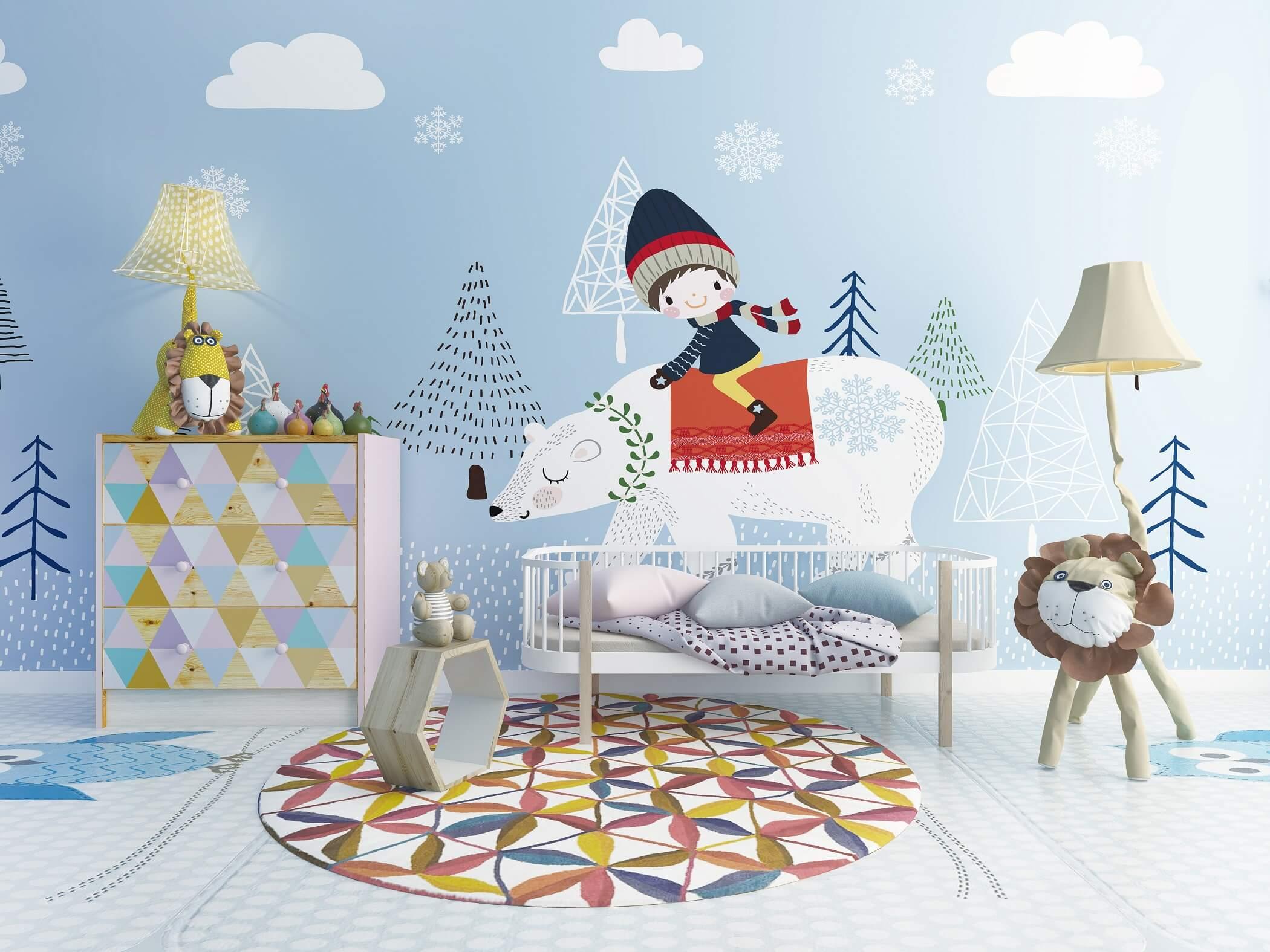 小朋友骑北极熊童趣卡通墙布