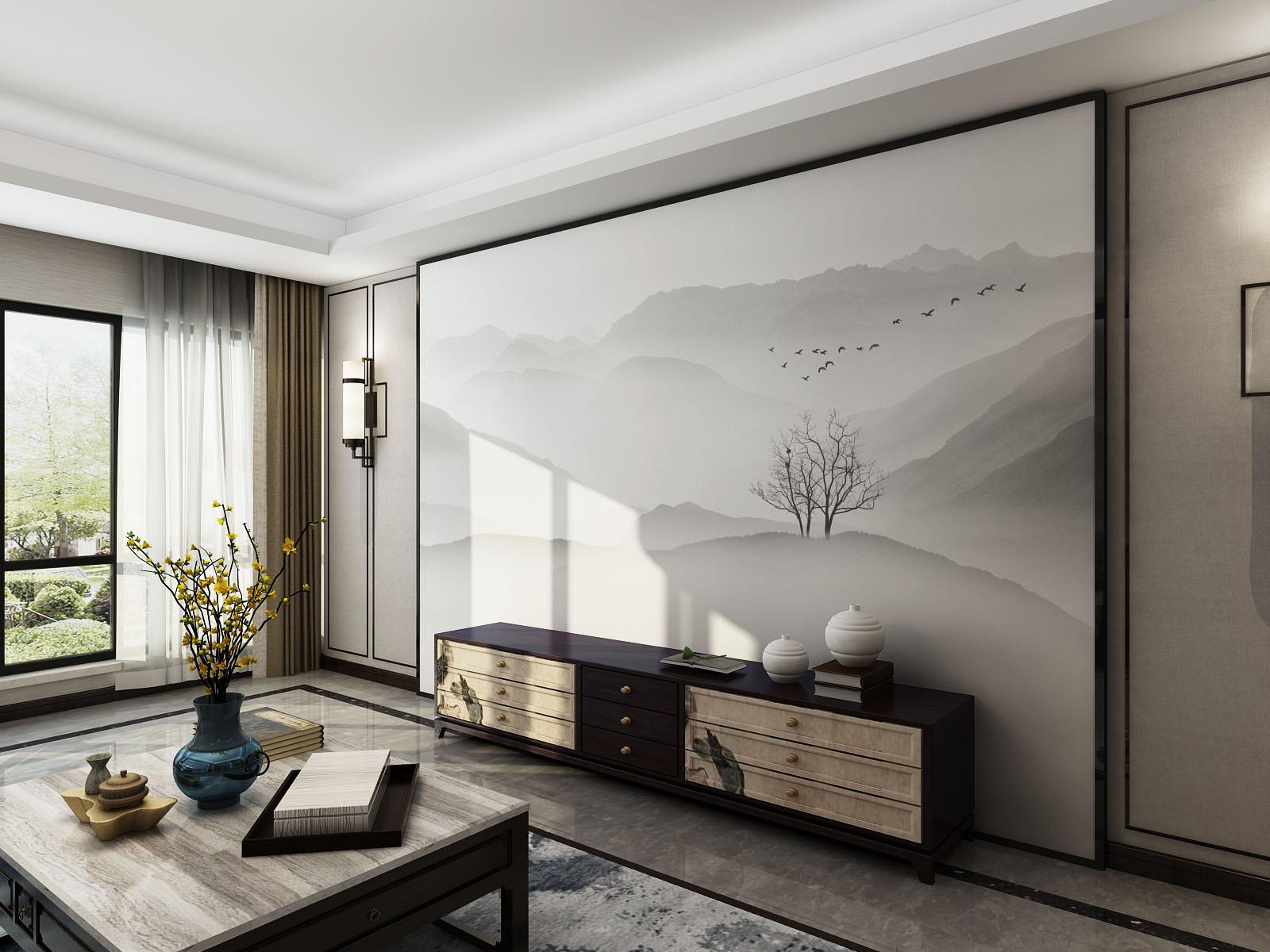 云淡远山近树水墨新中式电视背景墙