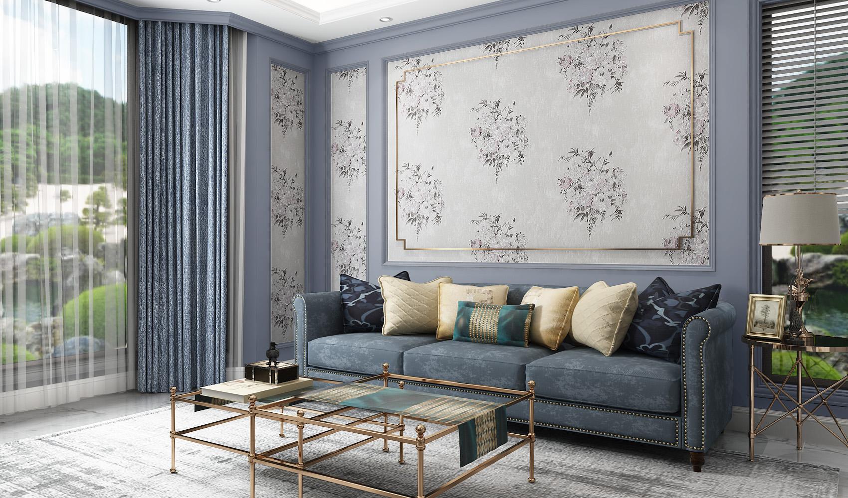 中式花纹沙发背景墙