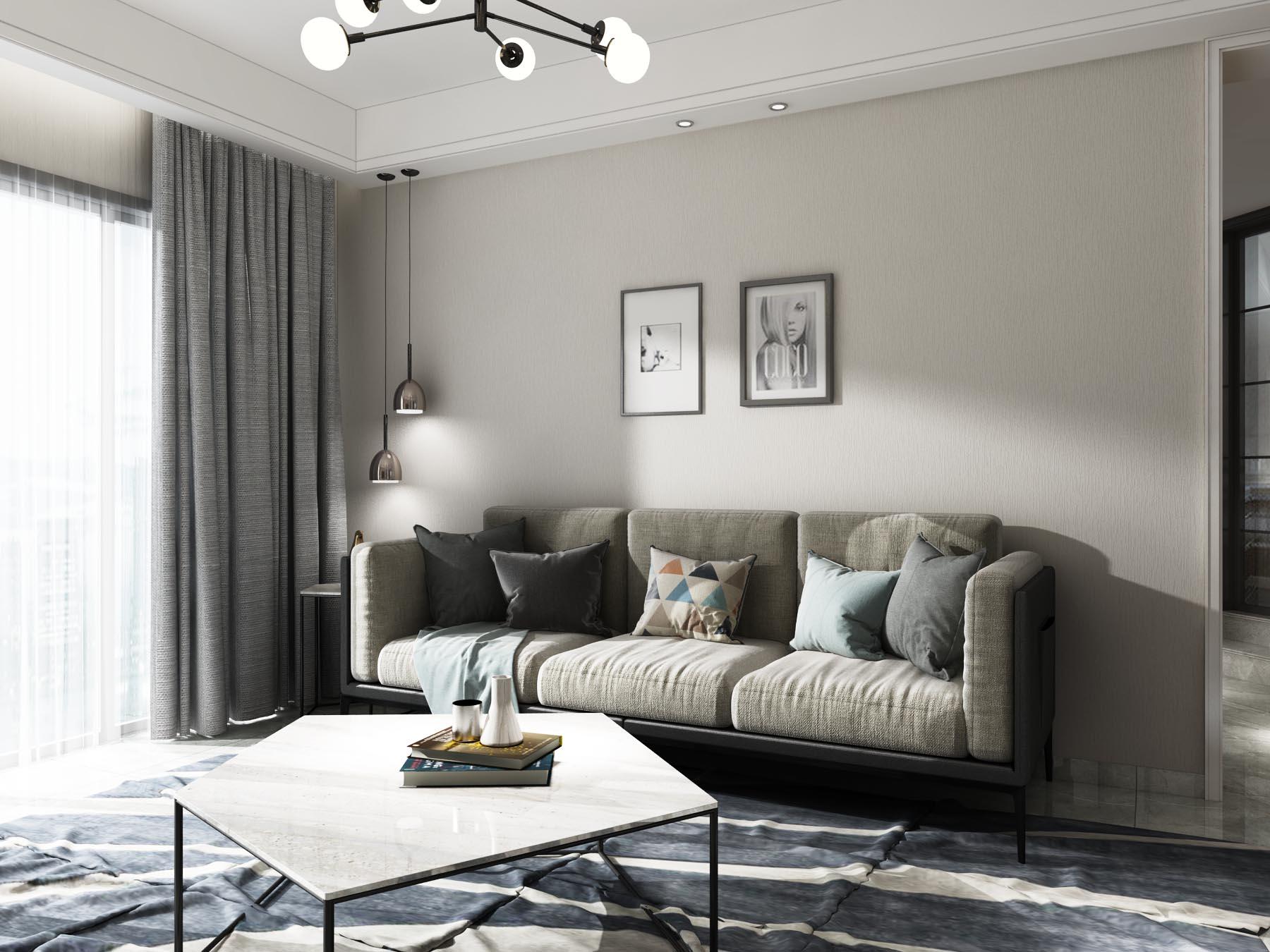 浅灰素色简约现代无缝墙布