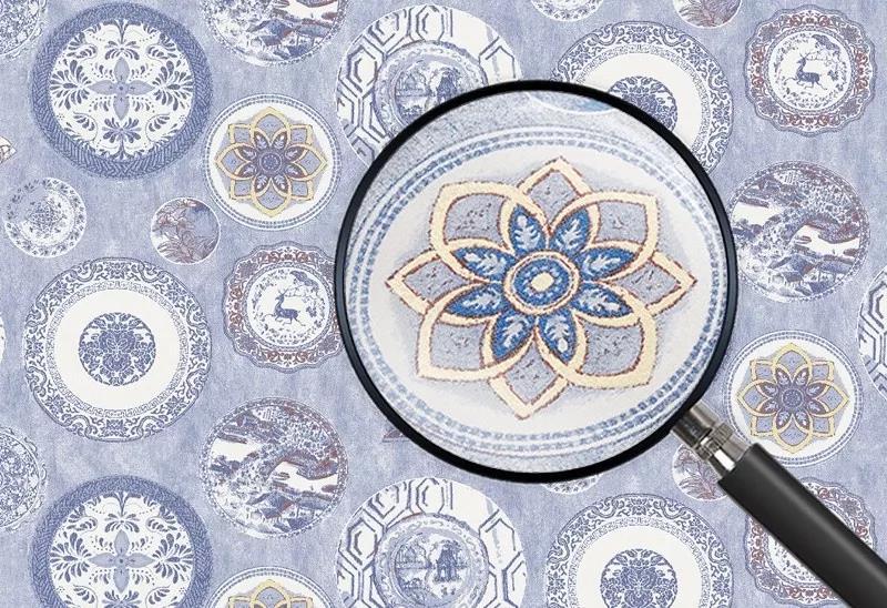 青花瓷新中式墙布