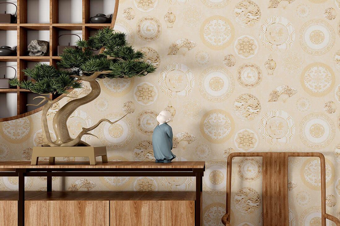 吉祥团花新中式环保墙布
