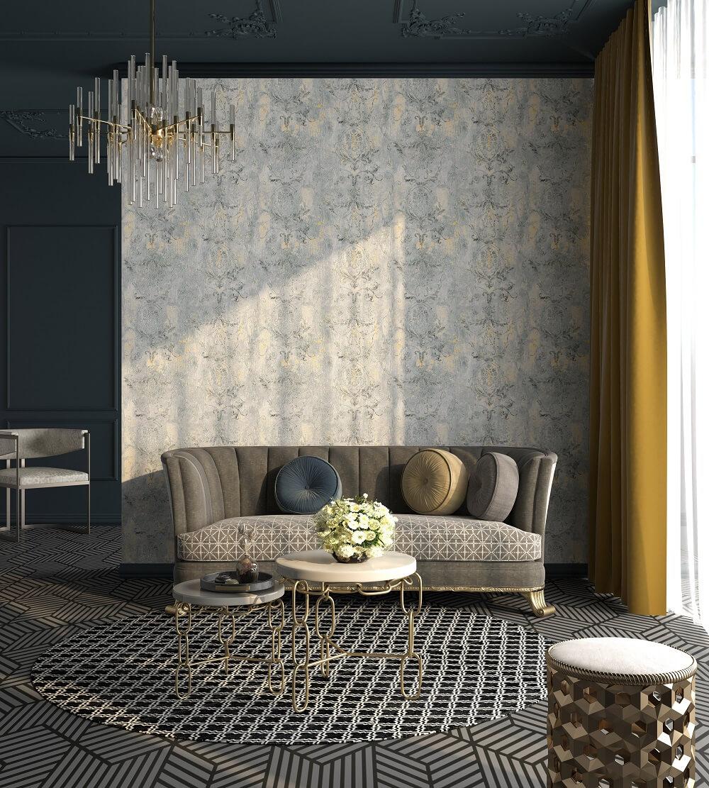 欧式古典花纹环保无缝墙布