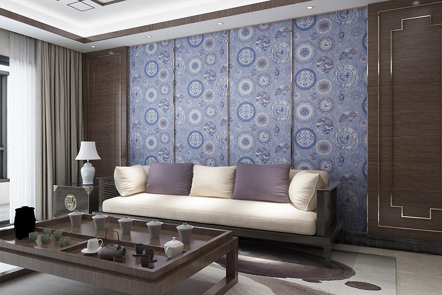 青花瓷元素新中式无缝墙布