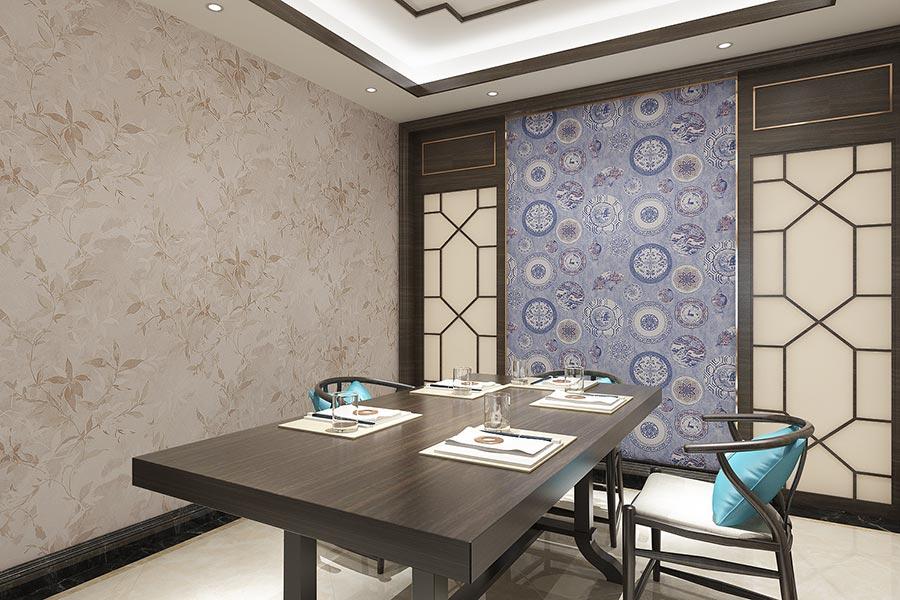 青花瓷团花餐厅背景墙