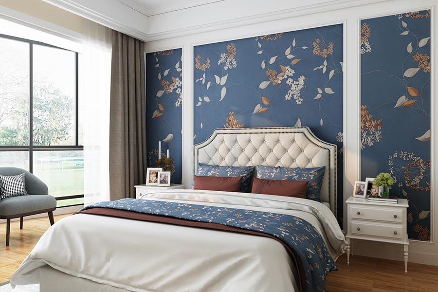 蓝色娇媚系列卧室背景墙