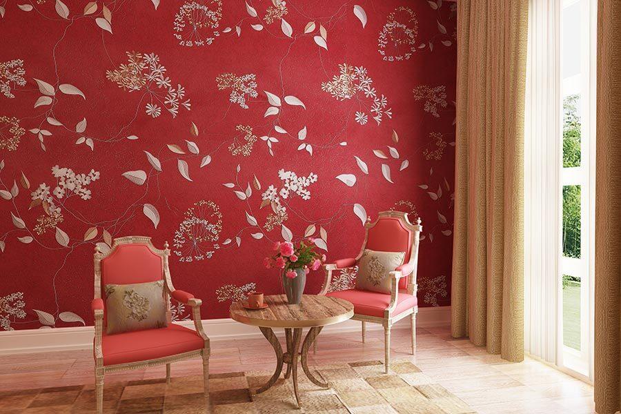 红色娇媚系列无缝墙布