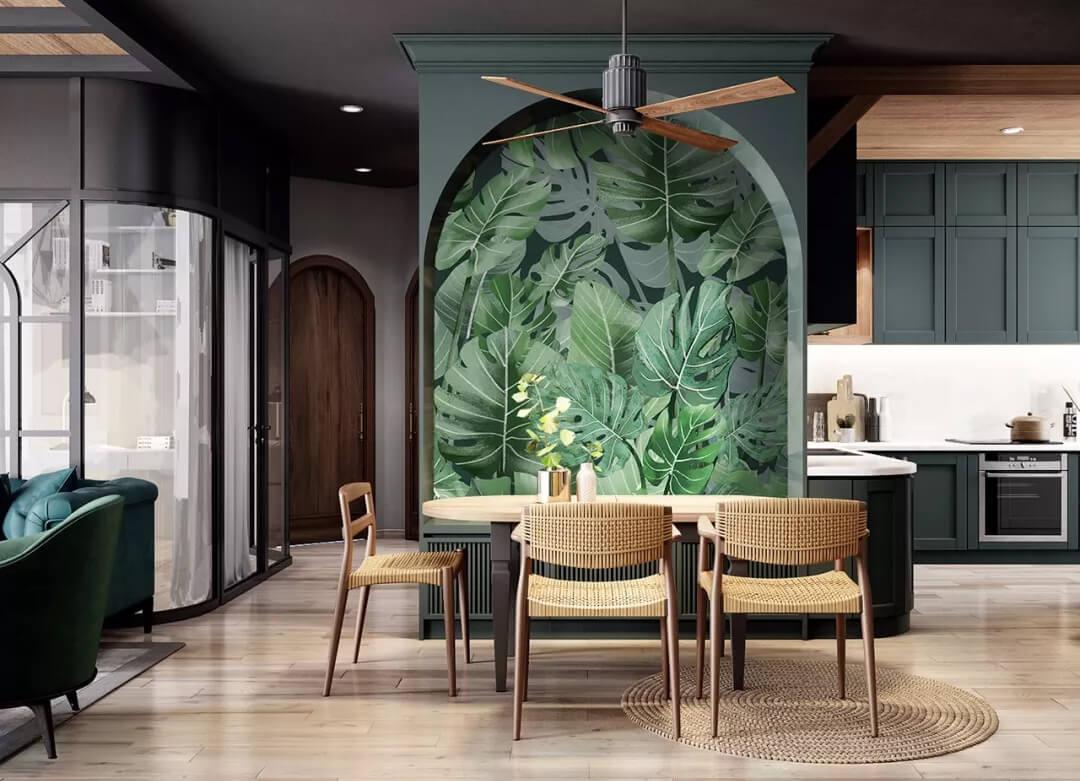 绿植阔叶玄关壁画