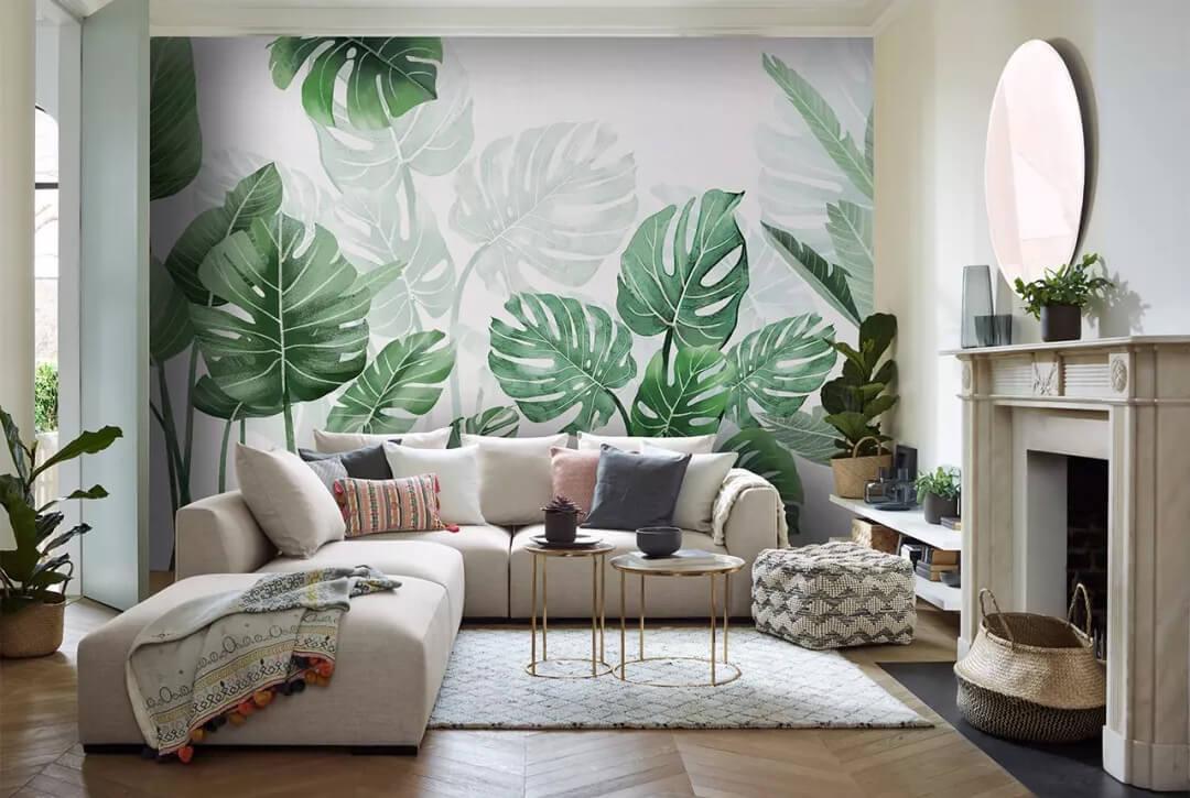 热带雨林绿植客厅背景墙
