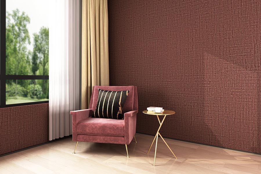 玫红深红色棉麻质感环保墙布