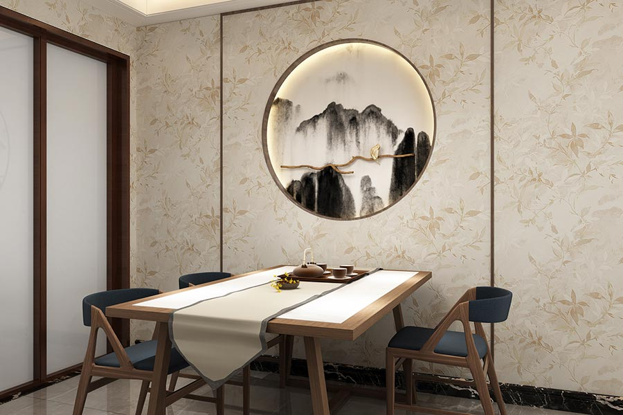 米色金色花卉新中式无缝墙布
