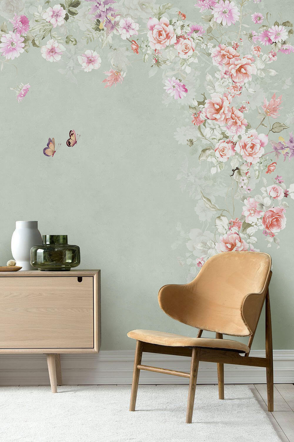 桃花盛开蝴蝶自来背景墙