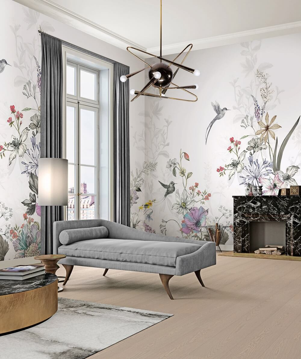 现代艺术花鸟定制壁画