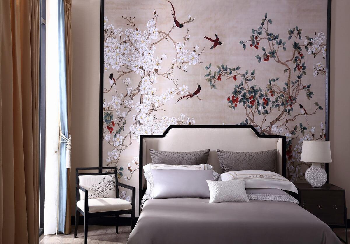 百花开飞鸟来床头背景墙