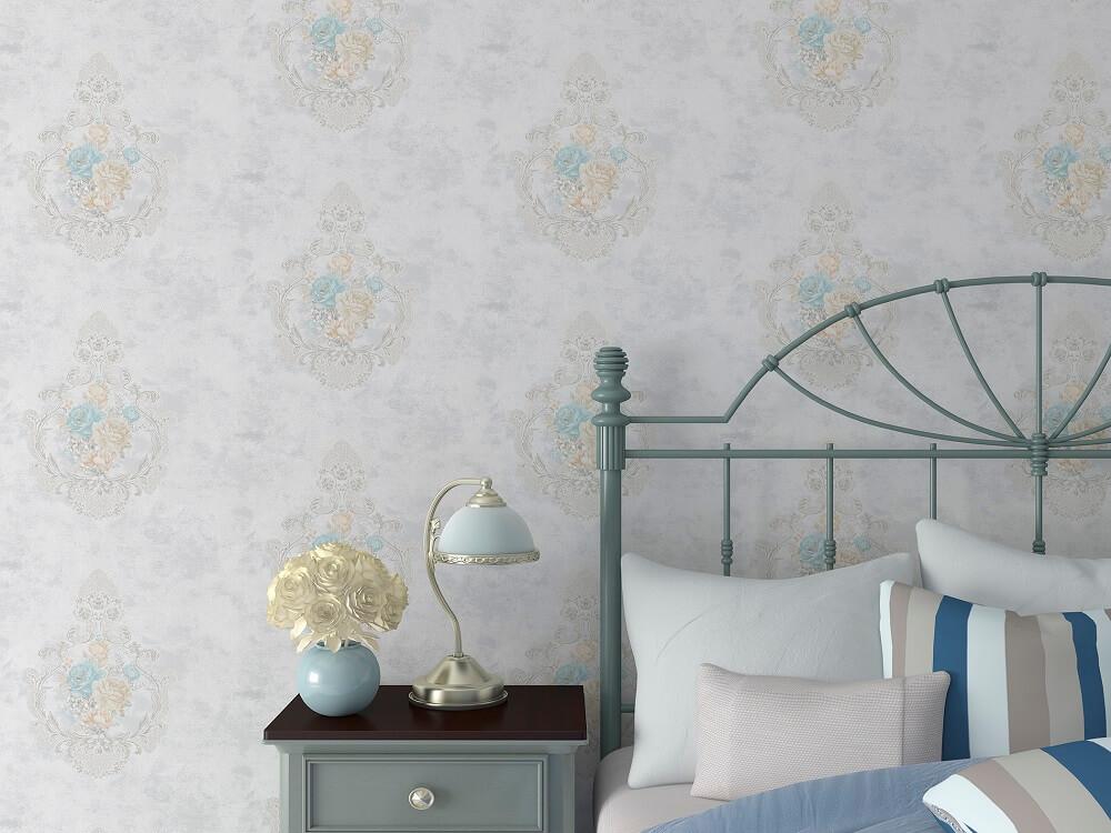 卷叶花卉法式无缝墙布