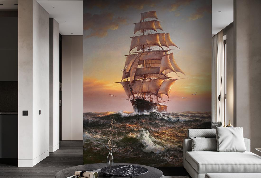 一帆风顺乘风破浪帆船玄关壁画