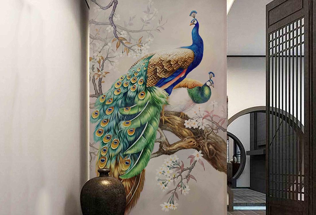 两只孔雀栖息在盛开花朵的树枝玄关壁画