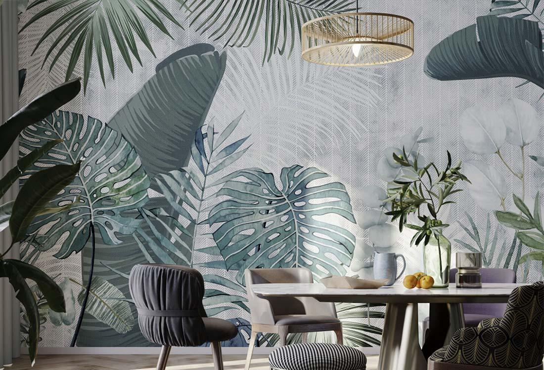 热带绿植阔叶壁画
