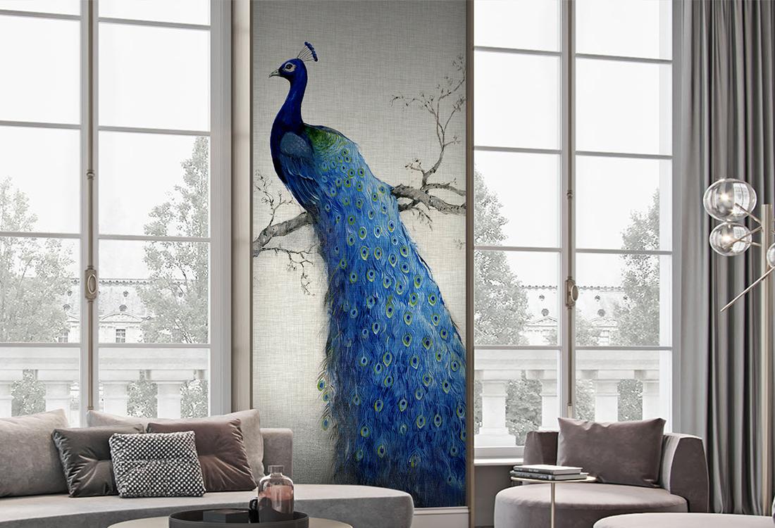 灰底色孔雀神鸟如凤凰玄关壁画
