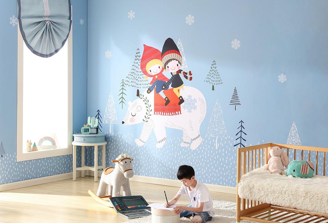 小孩骑北极熊蓝色儿童房环保墙布