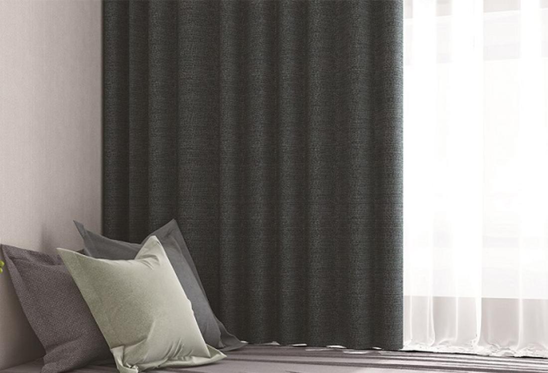 深灰色棉麻质感窗帘窗纱