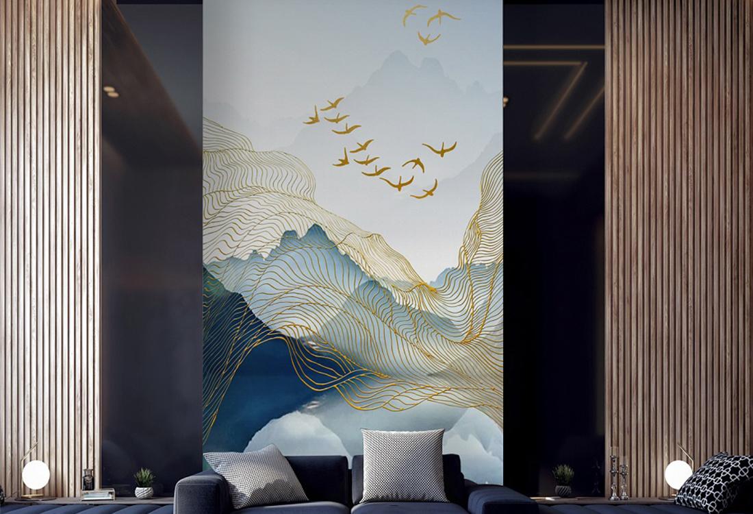 鎏金线条山水中式玄关背景墙